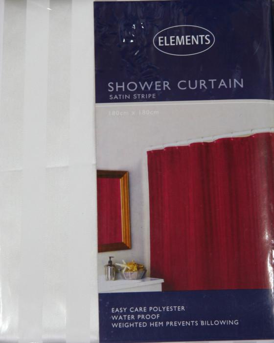 Shower Curtain Satin Stripe White Hospitality Textiles