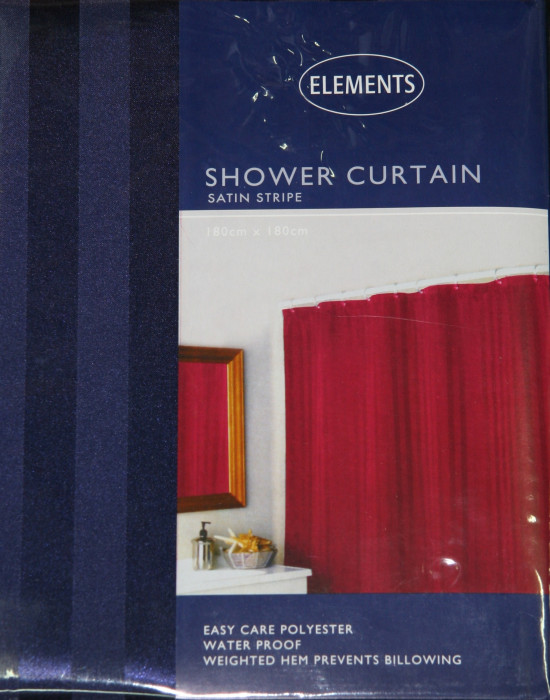 Shower Curtain Satin Stripe Navy :: Hospitality Textiles - Wholesale ...